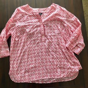 Talbots 3/4 sleeve cotton popover top